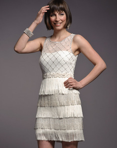Ivory Beaded Fringe Cocktail Dress